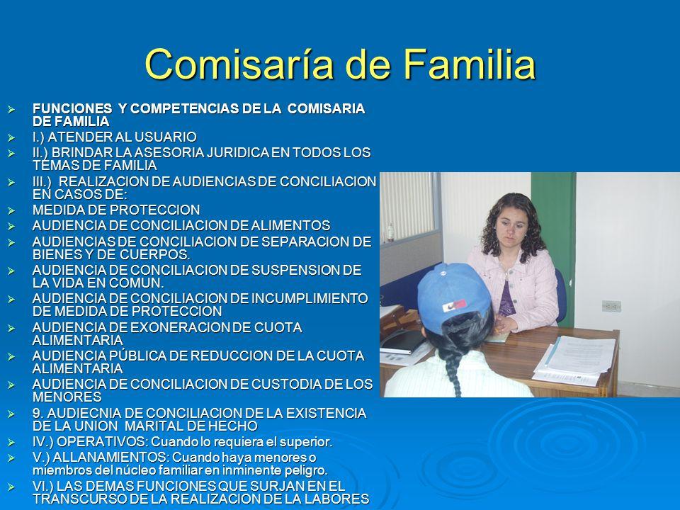 Comisaría de Familia FUNCIONES Y COMPETENCIAS DE LA COMISARIA DE FAMILIA. I.) ATENDER AL USUARIO.