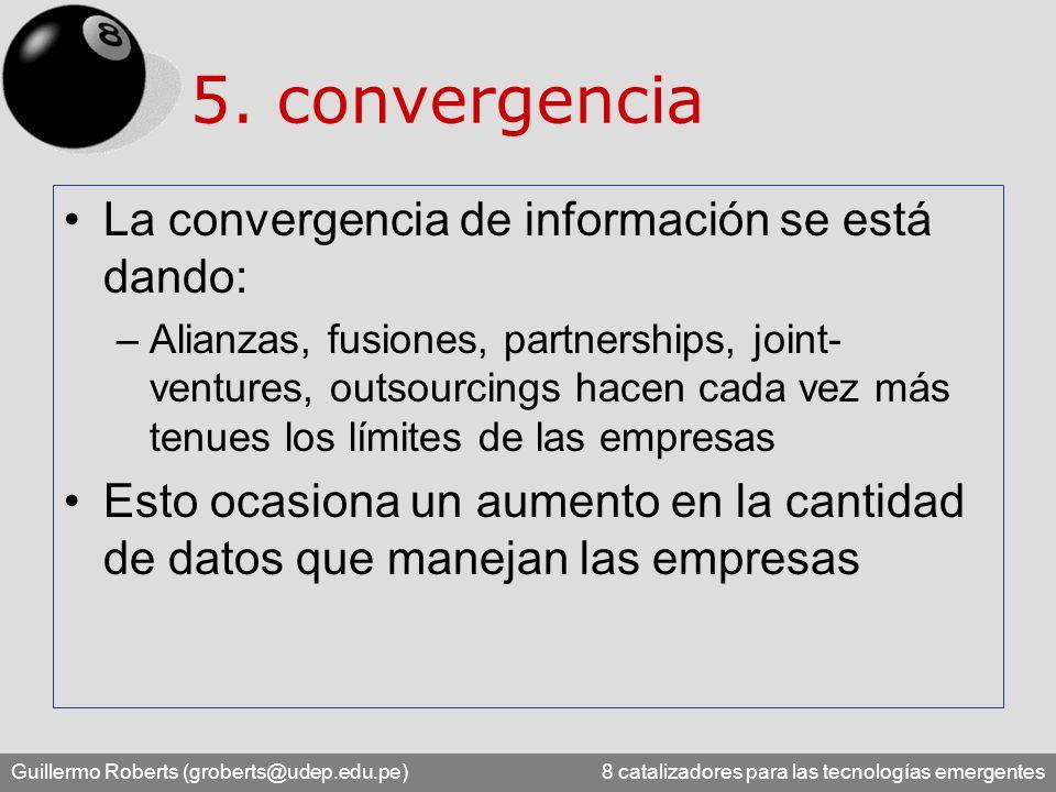 5. convergencia La convergencia de información se está dando: