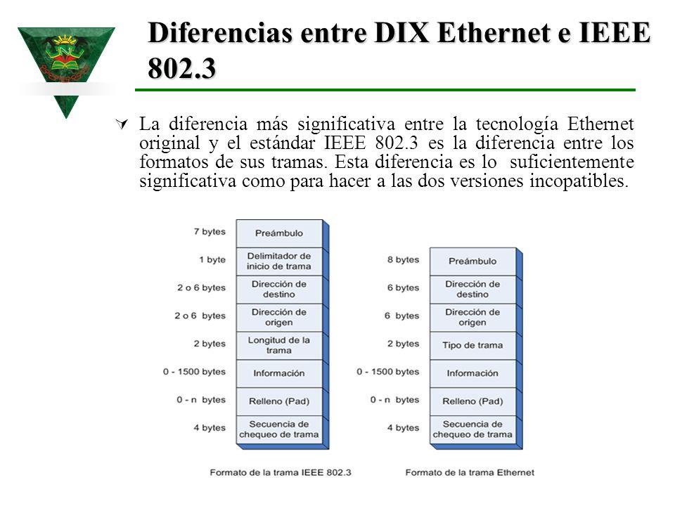 Diferencias entre DIX Ethernet e IEEE 802.3