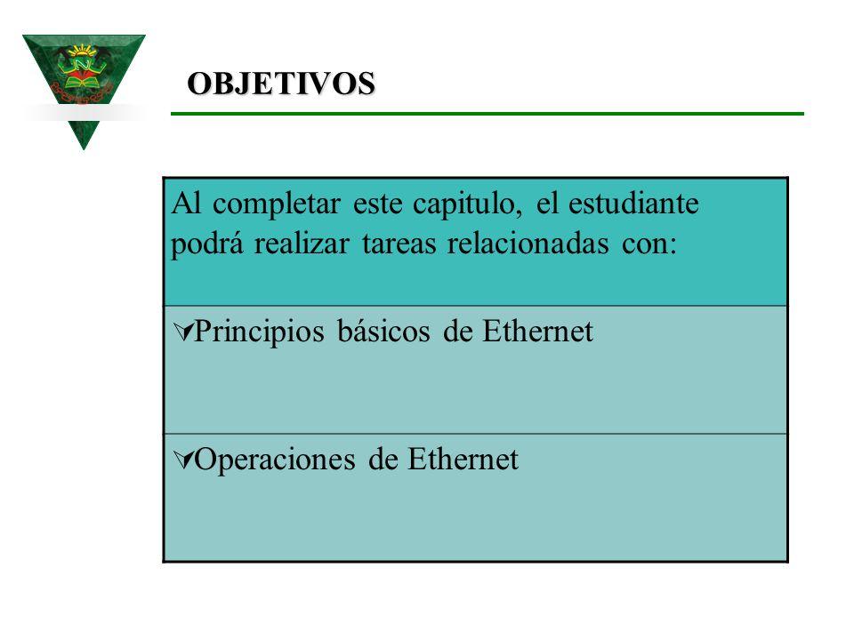 OBJETIVOS Al completar este capitulo, el estudiante podrá realizar tareas relacionadas con: Principios básicos de Ethernet.