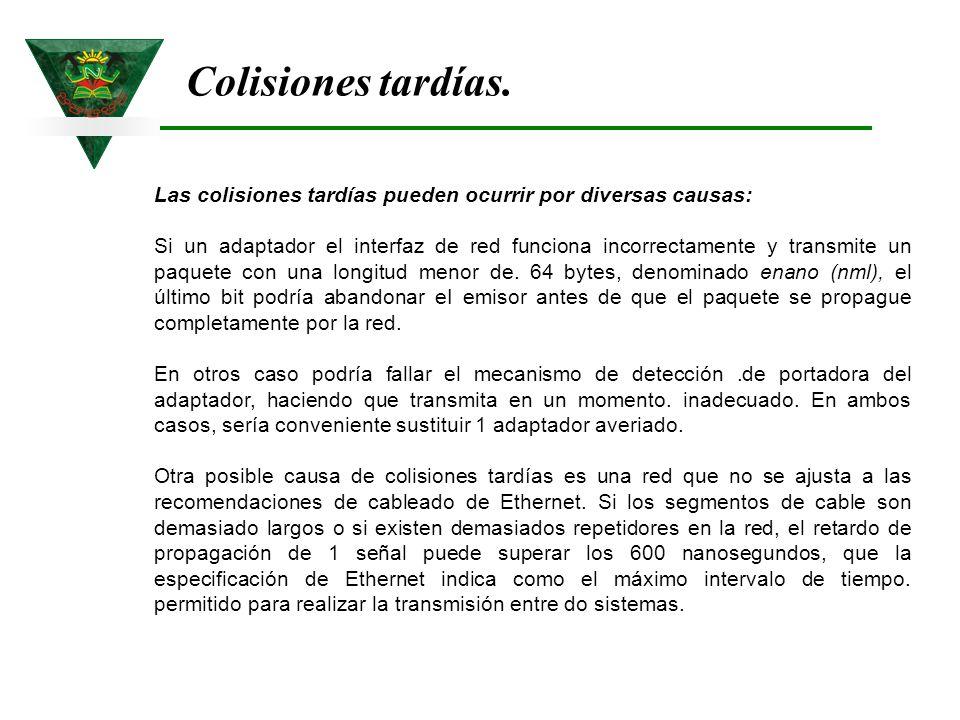 Colisiones tardías. Las colisiones tardías pueden ocurrir por diversas causas: