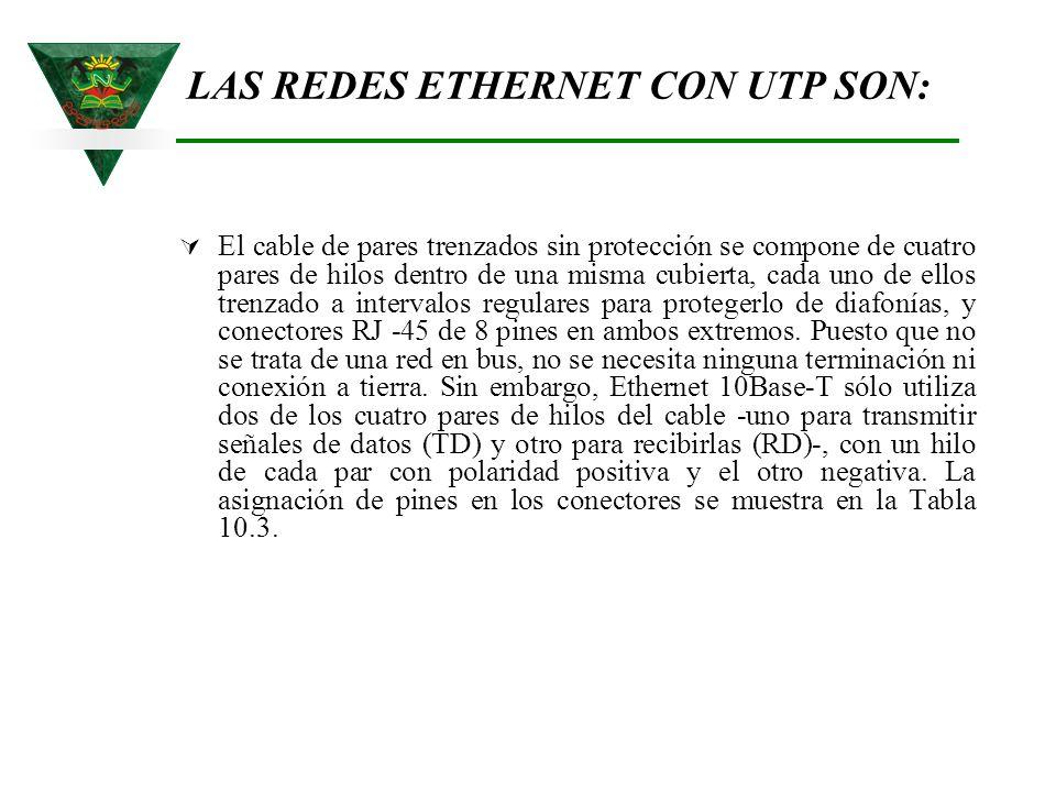 LAS REDES ETHERNET CON UTP SON:
