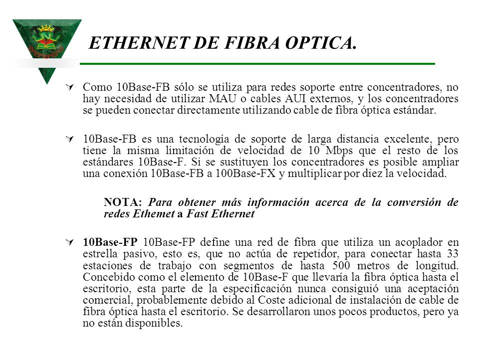 ETHERNET DE FIBRA OPTICA.
