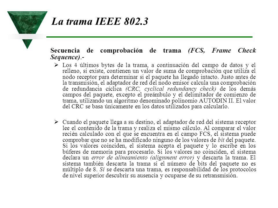La trama IEEE 802.3 Secuencia de comprobación de trama (FCS, Frame Check Sequence).-