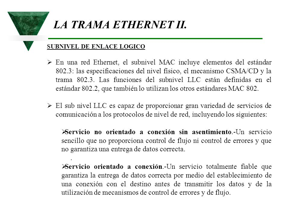 LA TRAMA ETHERNET II. SUBNIVEL DE ENLACE LOGICO.