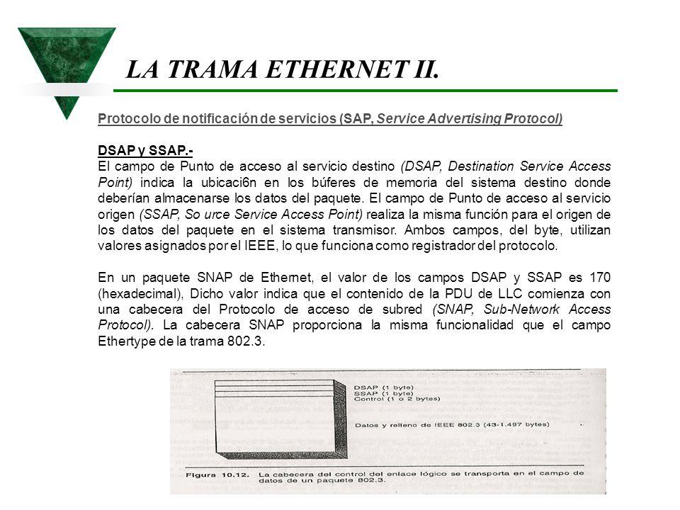 LA TRAMA ETHERNET II. Protocolo de notificación de servicios (SAP, Service Advertising Protocol) DSAP y SSAP.-