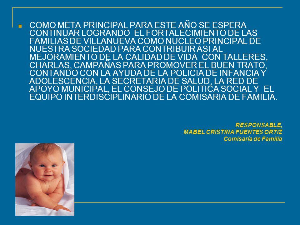 COMO META PRINCIPAL PARA ESTE AÑO SE ESPERA CONTINUAR LOGRANDO EL FORTALECIMIENTO DE LAS FAMILIAS DE VILLANUEVA COMO NUCLEO PRINCIPAL DE NUESTRA SOCIEDAD PARA CONTRIBUIR ASI AL MEJORAMIENTO DE LA CALIDAD DE VIDA CON TALLERES, CHARLAS, CAMPAÑAS PARA PROMOVER EL BUEN TRATO, CONTANDO CON LA AYUDA DE LA POLICIA DE INFANCIA Y ADOLESCENCIA, LA SECRETARIA DE SALUD, LA RED DE APOYO MUNICIPAL, EL CONSEJO DE POLITICA SOCIAL Y EL EQUIPO INTERDISCIPLINARIO DE LA COMISARIA DE FAMILIA.