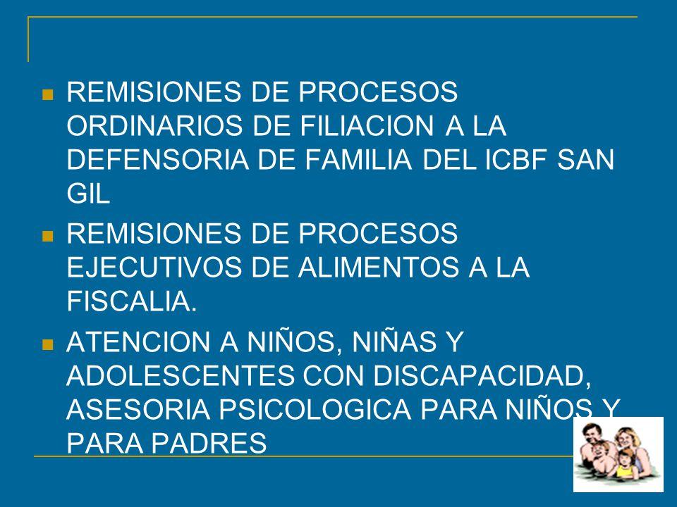 REMISIONES DE PROCESOS ORDINARIOS DE FILIACION A LA DEFENSORIA DE FAMILIA DEL ICBF SAN GIL
