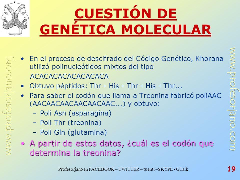 CUESTIÓN DE GENÉTICA MOLECULAR
