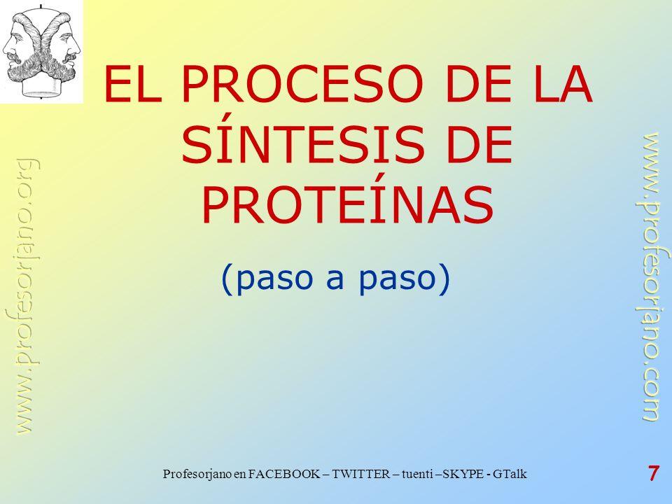 EL PROCESO DE LA SÍNTESIS DE PROTEÍNAS