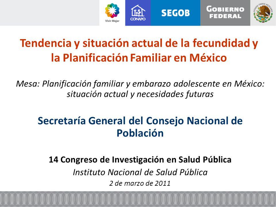 Tendencia y situación actual de la fecundidad y la Planificación Familiar en México