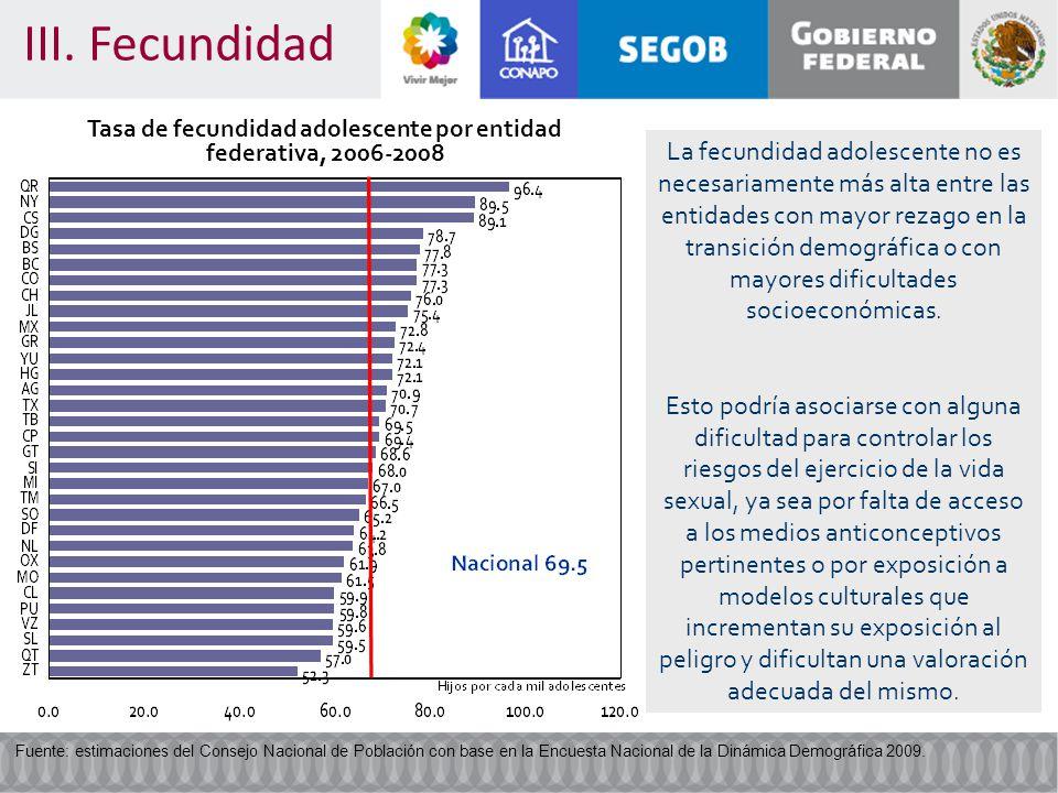 Tasa de fecundidad adolescente por entidad federativa, 2006-2008