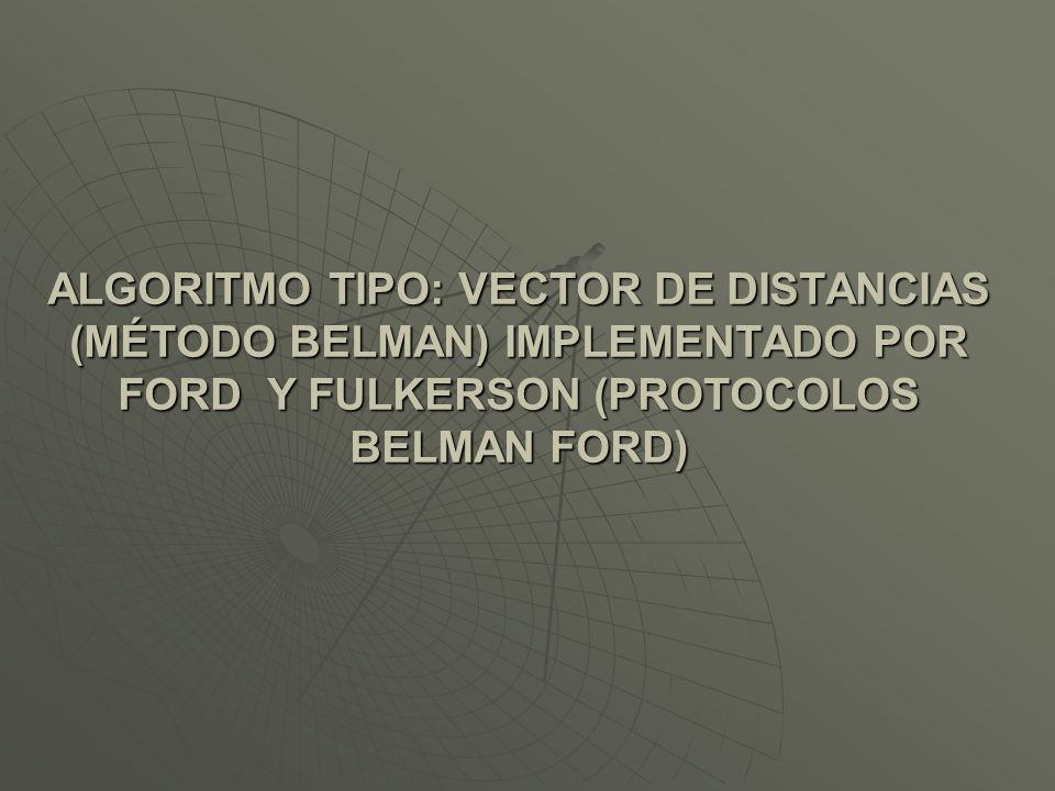 ALGORITMO TIPO: VECTOR DE DISTANCIAS (MÉTODO BELMAN) IMPLEMENTADO POR FORD Y FULKERSON (PROTOCOLOS BELMAN FORD)