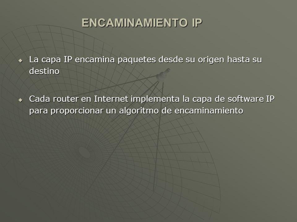 ENCAMINAMIENTO IP La capa IP encamina paquetes desde su origen hasta su destino.