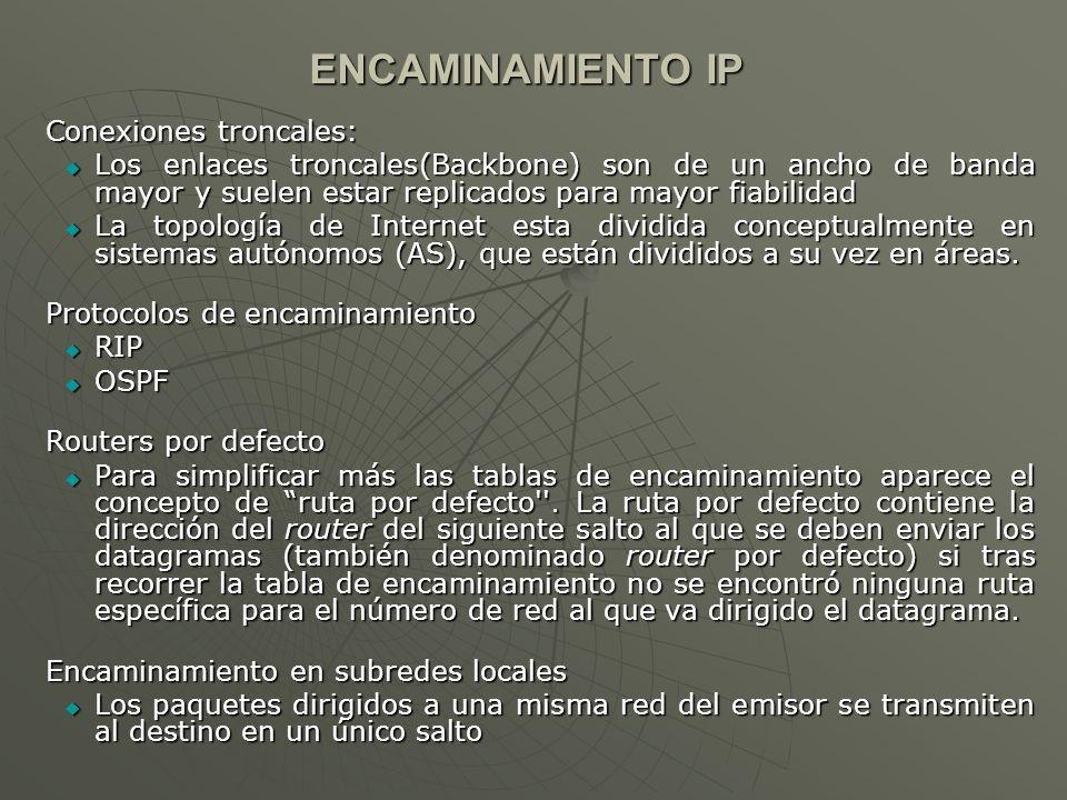 ENCAMINAMIENTO IP Conexiones troncales: