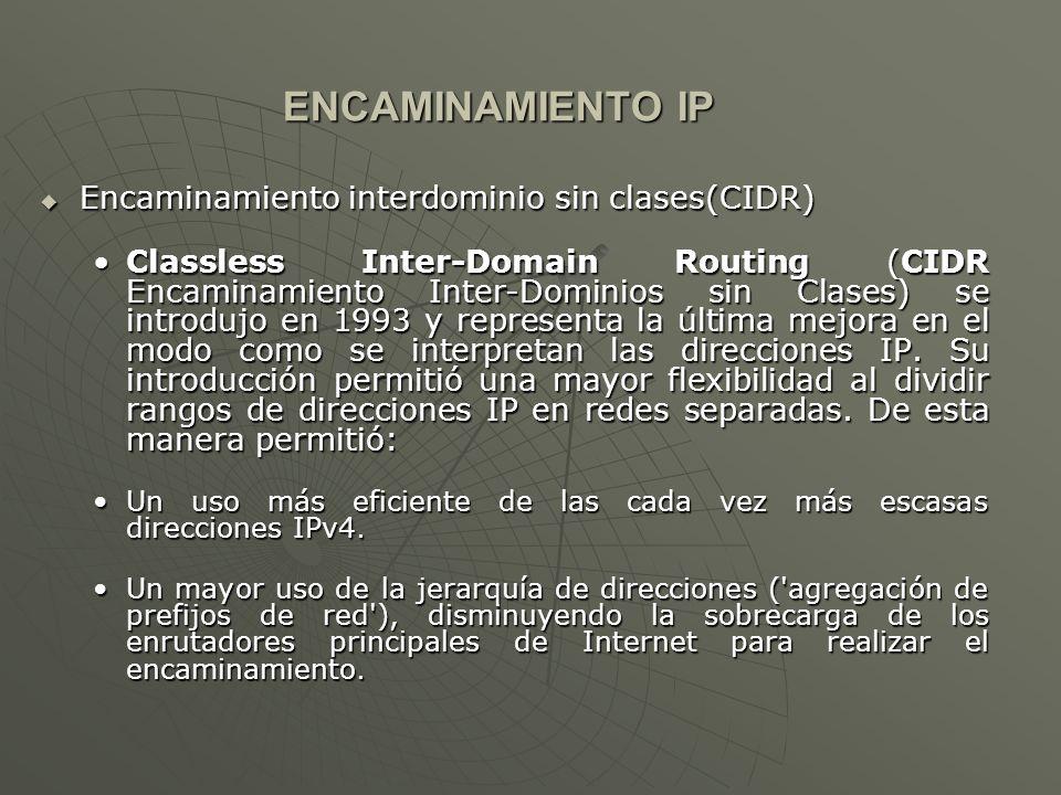 ENCAMINAMIENTO IP Encaminamiento interdominio sin clases(CIDR)
