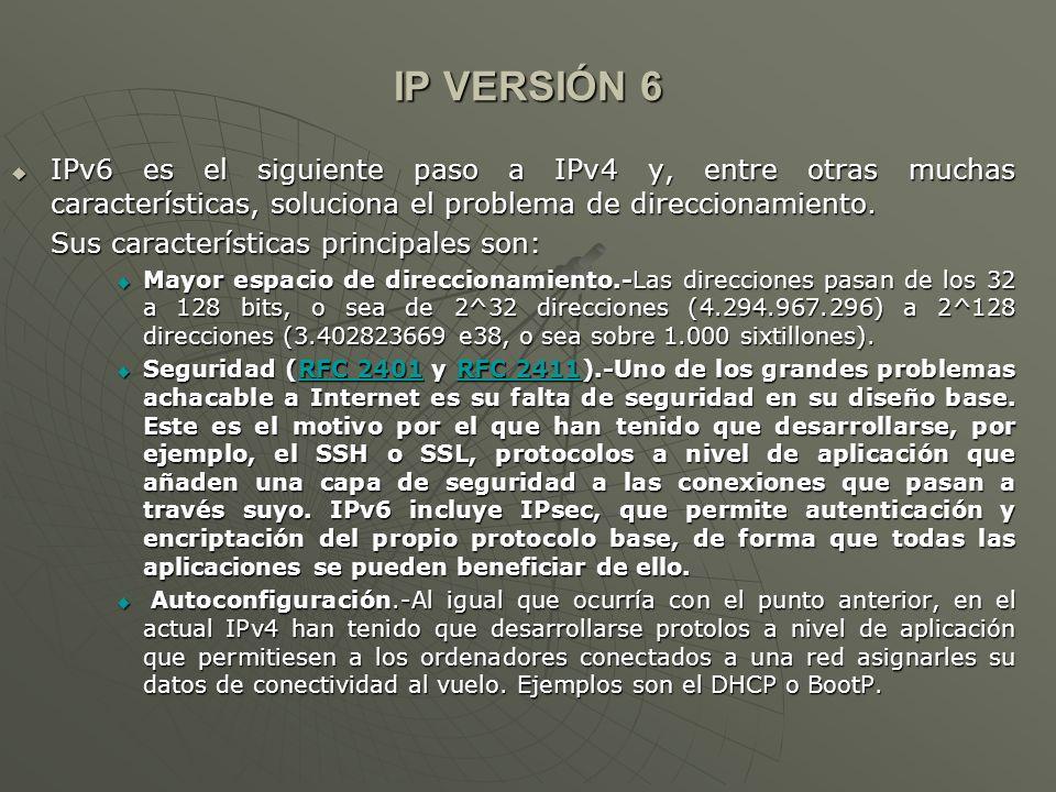 IP VERSIÓN 6IPv6 es el siguiente paso a IPv4 y, entre otras muchas características, soluciona el problema de direccionamiento.