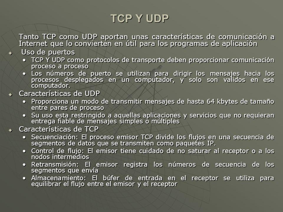 TCP Y UDP Tanto TCP como UDP aportan unas características de comunicación a Internet que lo convierten en útil para los programas de aplicación.