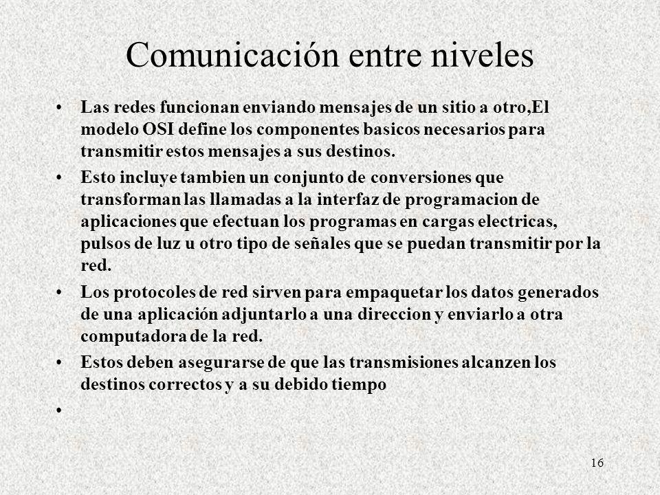 Comunicación entre niveles