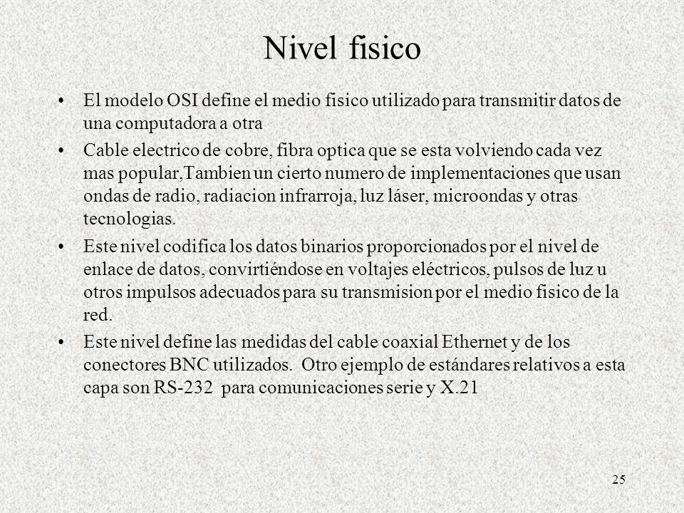 Nivel fisico El modelo OSI define el medio fisico utilizado para transmitir datos de una computadora a otra.