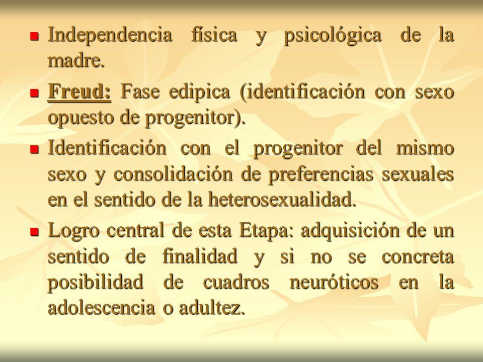 Independencia física y psicológica de la madre.