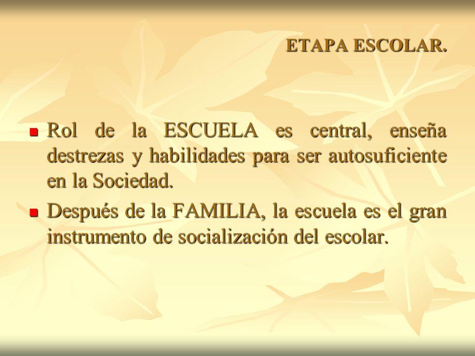 ETAPA ESCOLAR. Rol de la ESCUELA es central, enseña destrezas y habilidades para ser autosuficiente en la Sociedad.