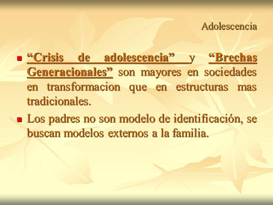 Adolescencia Crisis de adolescencia y Brechas Generacionales son mayores en sociedades en transformacion que en estructuras mas tradicionales.