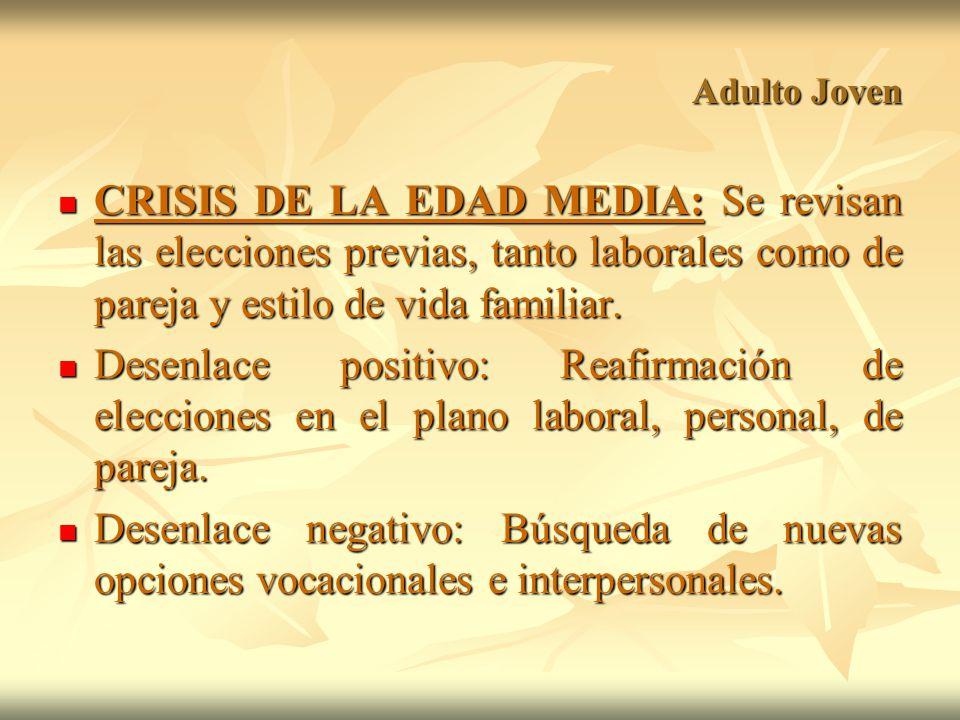 Adulto Joven CRISIS DE LA EDAD MEDIA: Se revisan las elecciones previas, tanto laborales como de pareja y estilo de vida familiar.