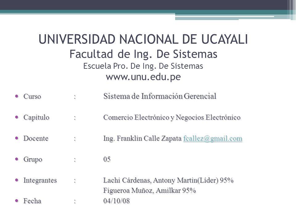 UNIVERSIDAD NACIONAL DE UCAYALI Facultad de Ing