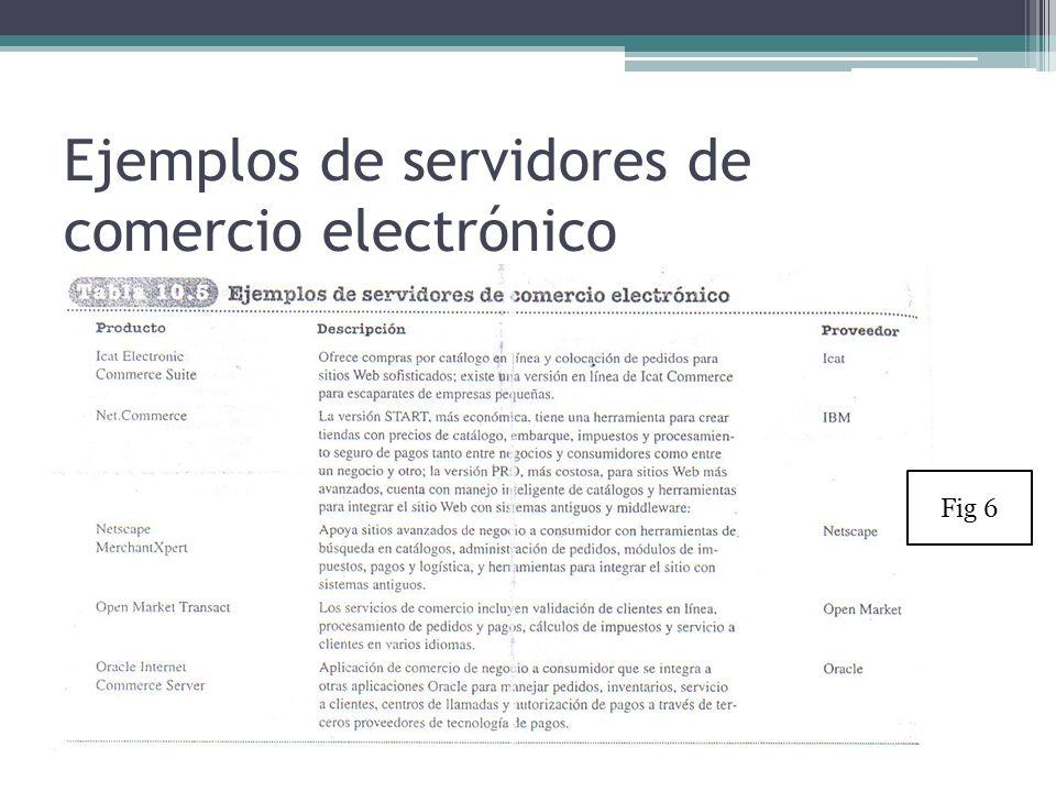 Ejemplos de servidores de comercio electrónico