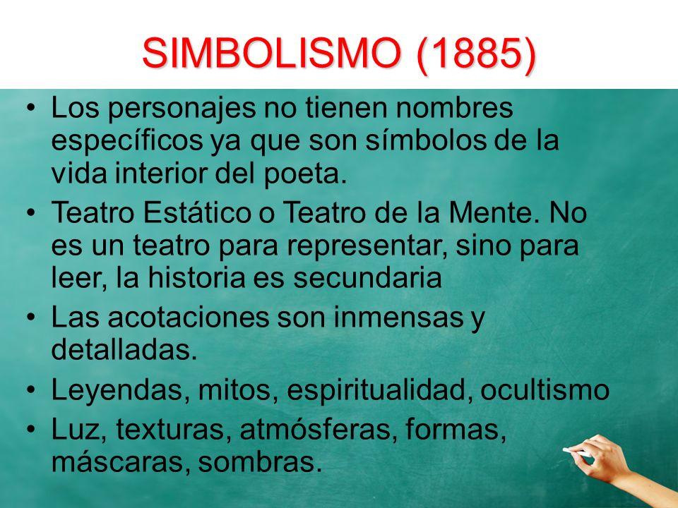 SIMBOLISMO (1885)Los personajes no tienen nombres específicos ya que son símbolos de la vida interior del poeta.