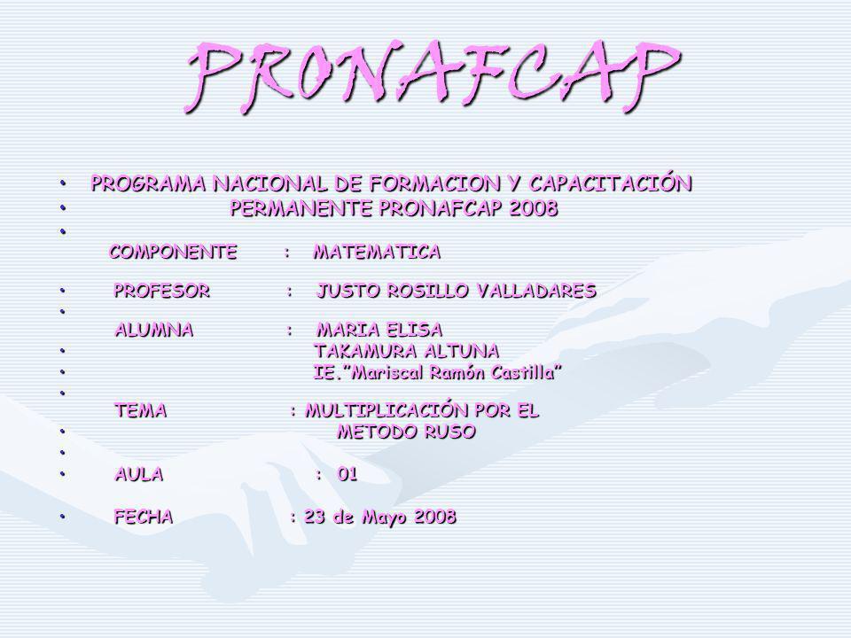 PRONAFCAP PROGRAMA NACIONAL DE FORMACION Y CAPACITACIÓN