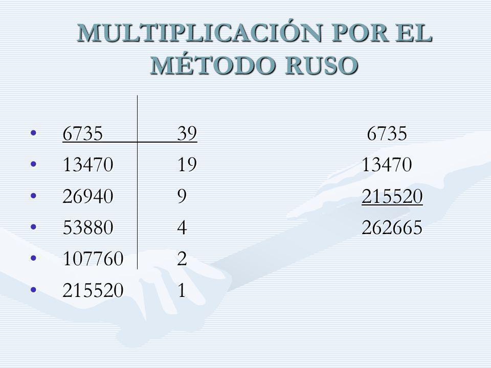 MULTIPLICACIÓN POR EL MÉTODO RUSO