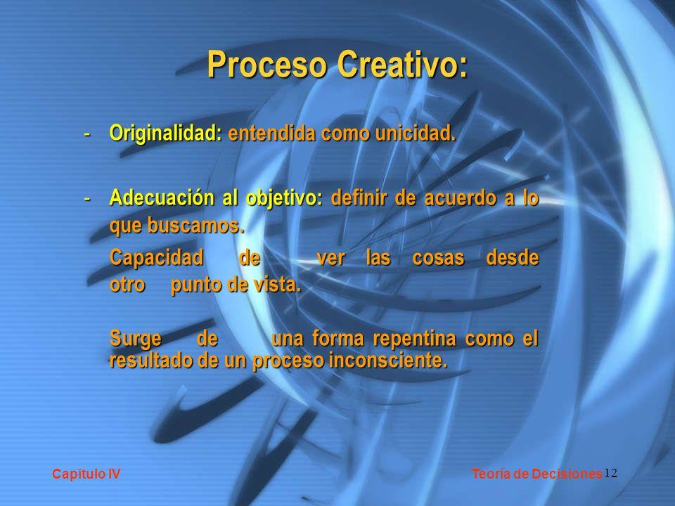 Proceso Creativo: Originalidad: entendida como unicidad.