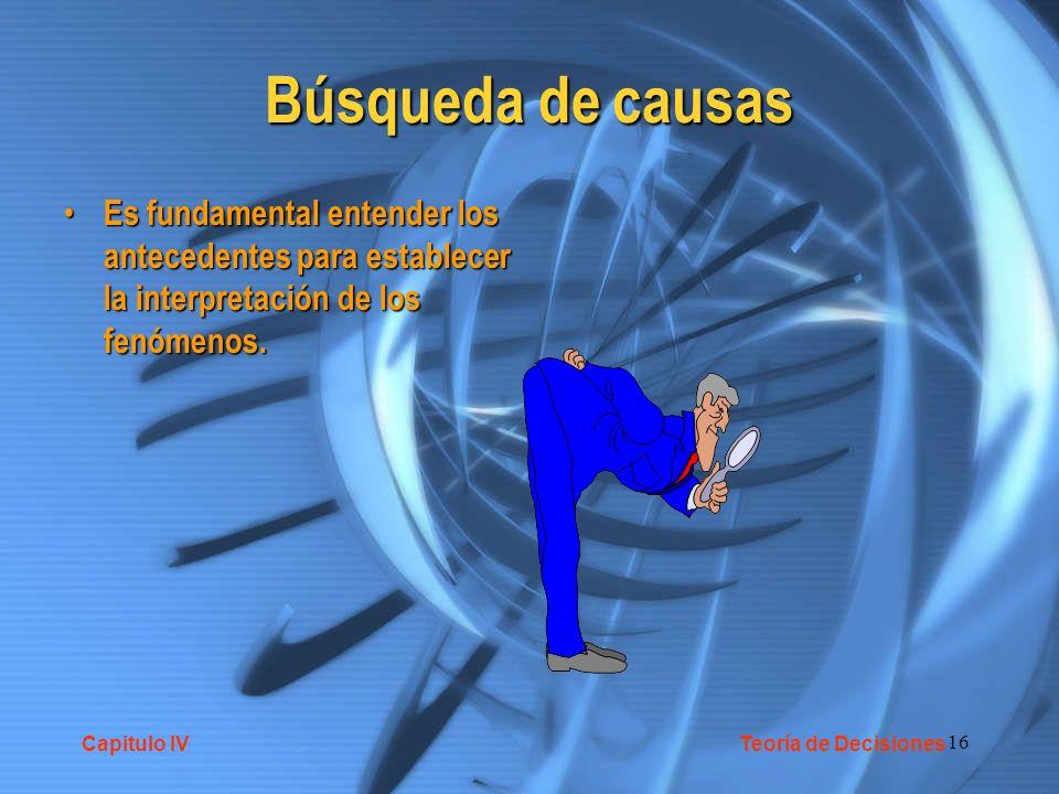 Búsqueda de causas Es fundamental entender los antecedentes para establecer la interpretación de los fenómenos.