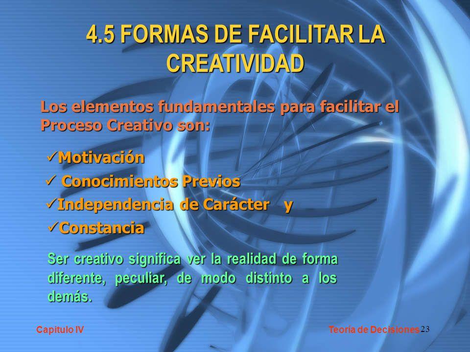 4.5 FORMAS DE FACILITAR LA CREATIVIDAD