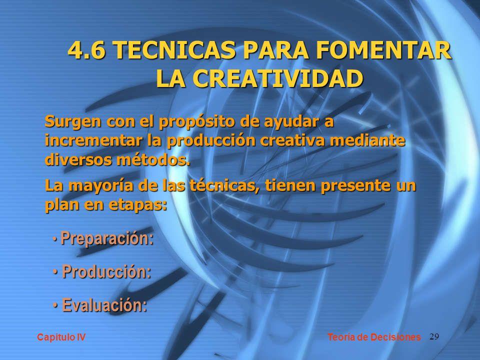 4.6 TECNICAS PARA FOMENTAR LA CREATIVIDAD