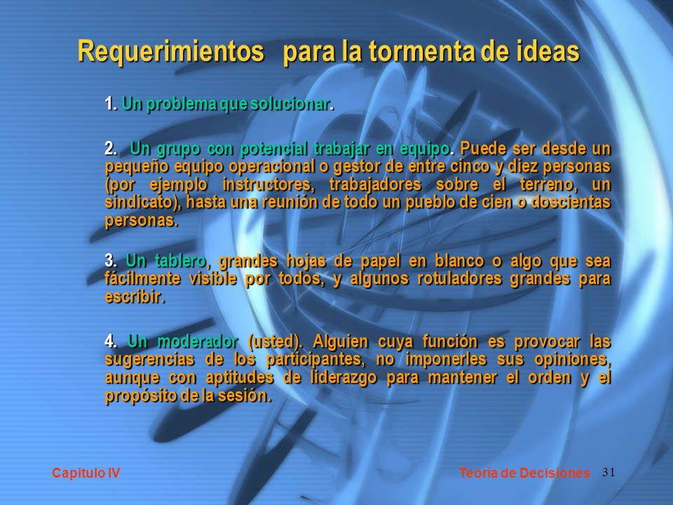 Requerimientos para la tormenta de ideas