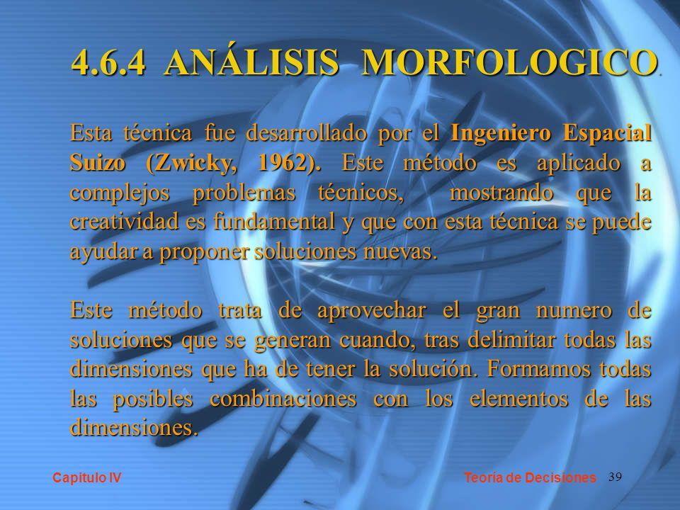4.6.4 ANÁLISIS MORFOLOGICO.