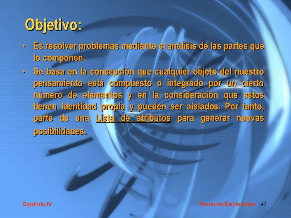 Objetivo: Es resolver problemas mediante el análisis de las partes que lo componen.