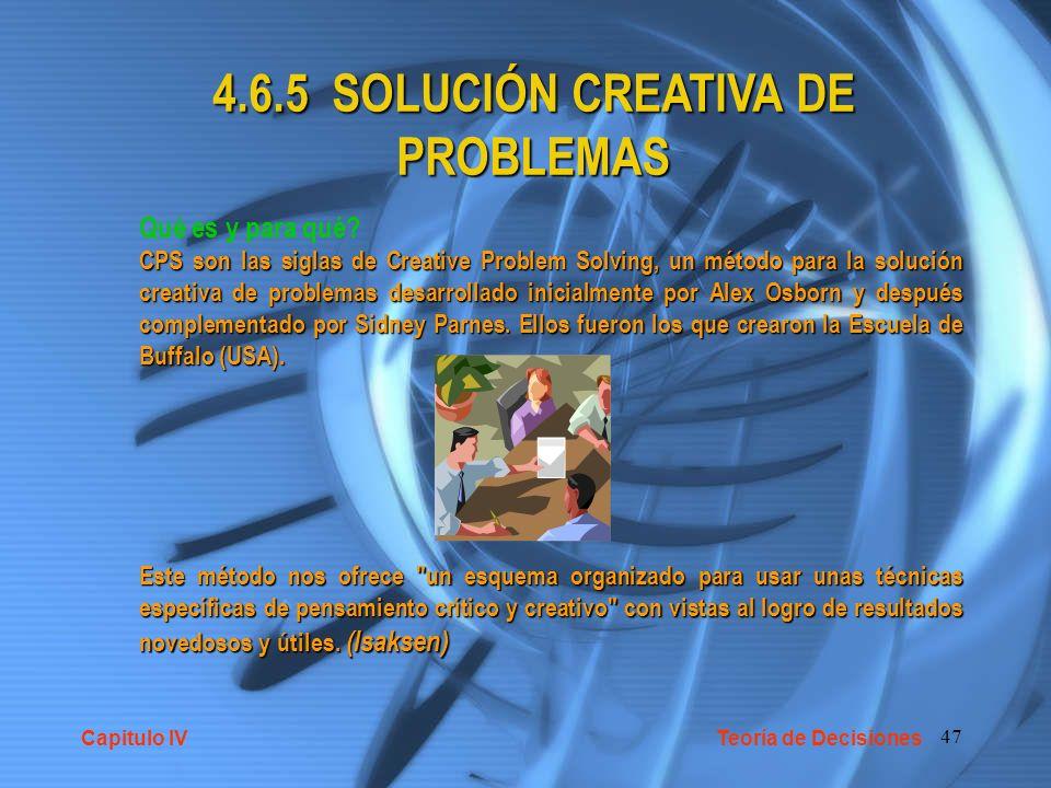 4.6.5 SOLUCIÓN CREATIVA DE PROBLEMAS