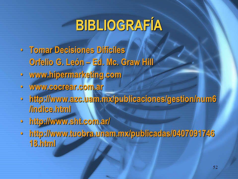 BIBLIOGRAFÍA Tomar Decisiones Difíciles