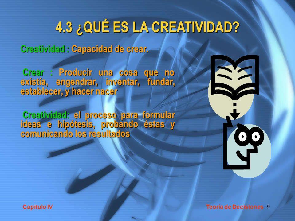 4.3 ¿QUÉ ES LA CREATIVIDAD Creatividad : Capacidad de crear.