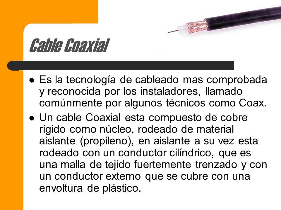 Cable Coaxial Es la tecnología de cableado mas comprobada y reconocida por los instaladores, llamado comúnmente por algunos técnicos como Coax.