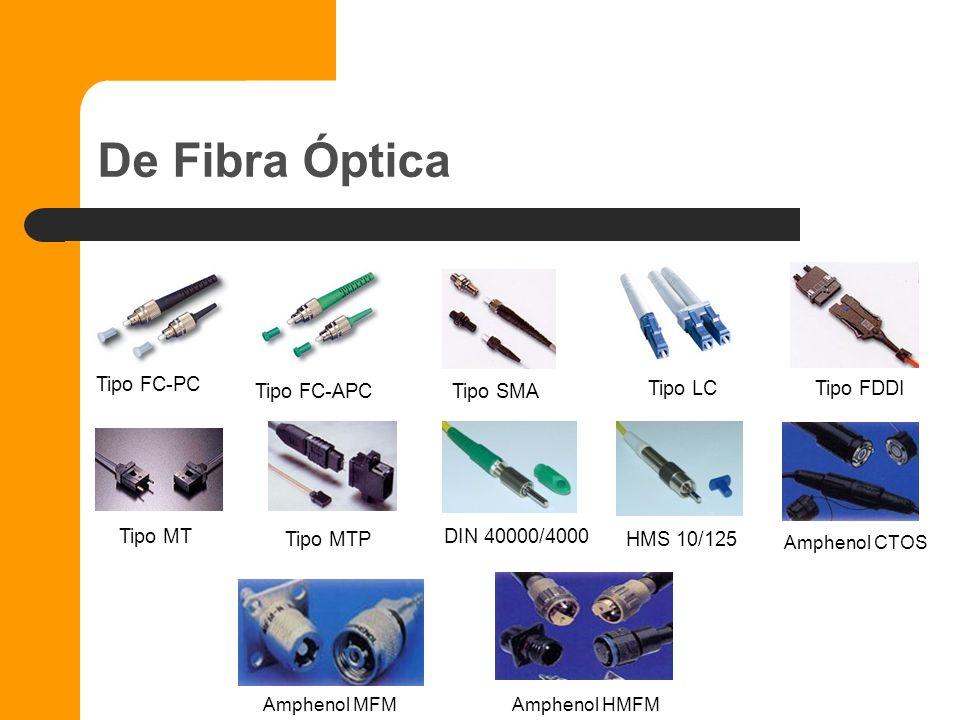 De Fibra Óptica Tipo FC-PC Tipo FC-APC Tipo SMA Tipo LC Tipo FDDI