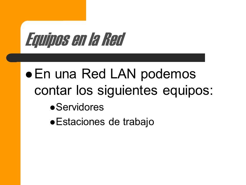 Equipos en la Red En una Red LAN podemos contar los siguientes equipos: Servidores.