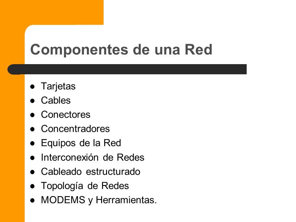 Componentes de una Red Tarjetas Cables Conectores Concentradores
