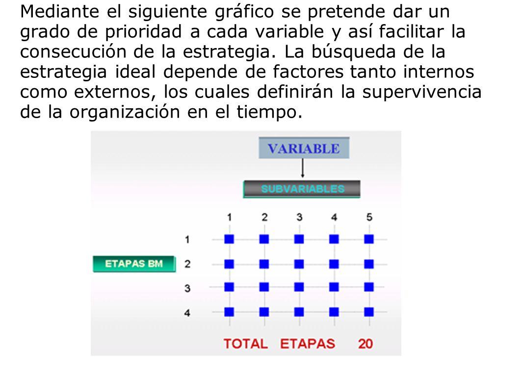 Mediante el siguiente gráfico se pretende dar un grado de prioridad a cada variable y así facilitar la consecución de la estrategia.
