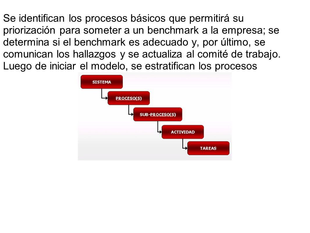 Se identifican los procesos básicos que permitirá su priorización para someter a un benchmark a la empresa; se determina si el benchmark es adecuado y, por último, se comunican los hallazgos y se actualiza al comité de trabajo.
