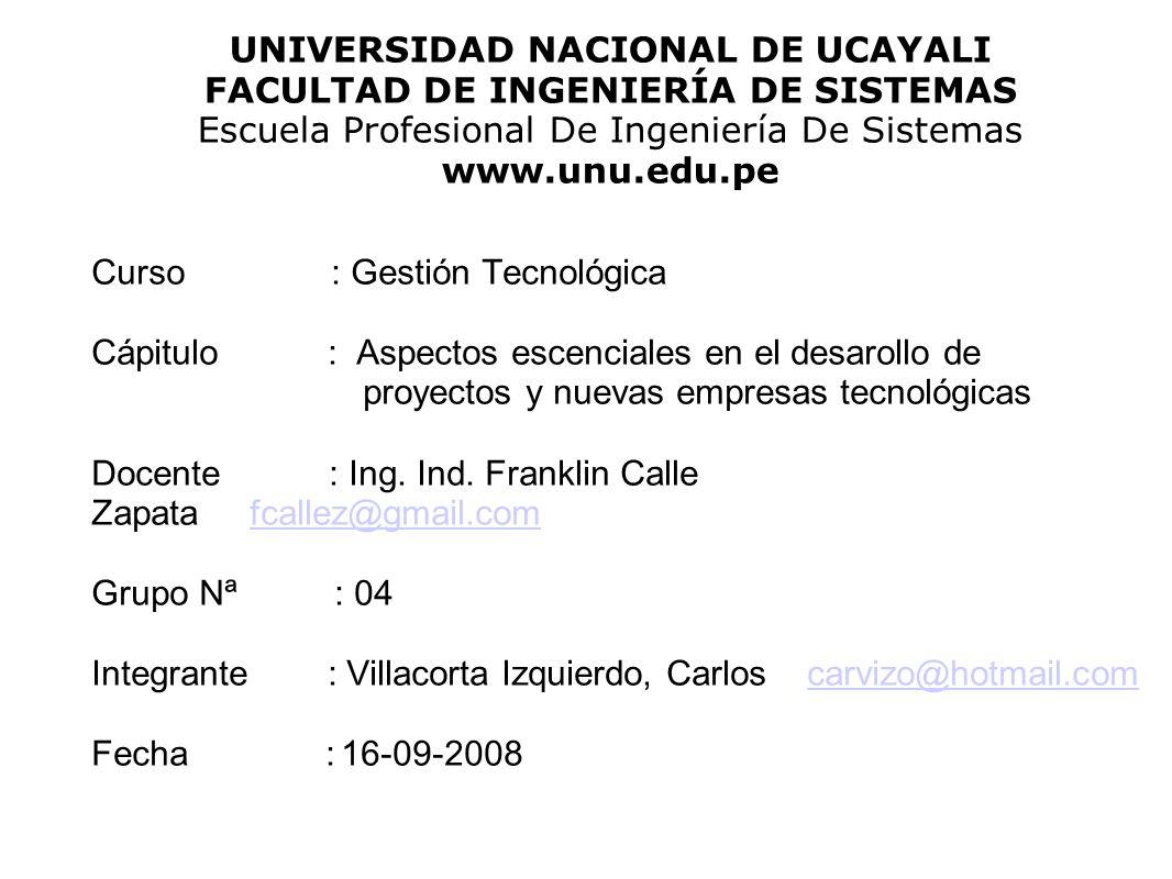 UNIVERSIDAD NACIONAL DE UCAYALI FACULTAD DE INGENIERÍA DE SISTEMAS Escuela Profesional De Ingeniería De Sistemas www.unu.edu.pe